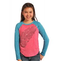 Rhinestone Feather Long Sleeve Knit Rock & Roll Cowgirl Kids T-Shirt