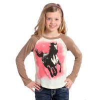 Rhinestone Horse Long Sleeve Knit Rock & Roll Cowgirl Kids T-Shirt