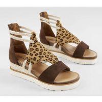 Diba True Brown Leopard Women's Leather Wedge Sandal GRN-CLOVER