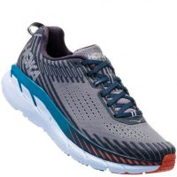 Hoka One One Mens Frost Gray/Ebony Clifton 5 Wide Athletic Shoes 1093757-FGEB