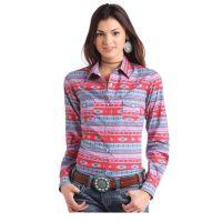 Panhandle Slim Aztec Print Long Sleeve Snap Shirt J2S2953