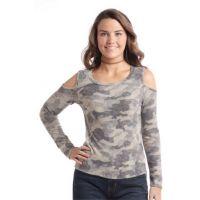Panhandle Slim Cold Shoulder Camo Pullover Shirt J8-2425-31