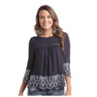 Panhandle Slim Red Label Blue 3/4 Womens Top J92413