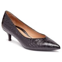 Vionic Black Embossed Leather Josie Womens Comfort Kitten Heel