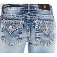 Miss Me Jeans Denim Braid Top Medium Wash Womens Boot Cut Jeans JP7290B2