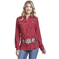 Wrangler Red Print Womens Western Fashion Top LW8033M
