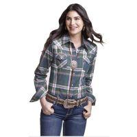Wrangler Dark Slate Womens Long Sleeve Western Fashion Top LW8038M