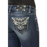 Miss Me Jeans Denim Rock & Rose Mid-Rise Womens Skinny Jeans MP7643S