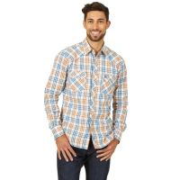 Wrangler Blue/Brown Retro Mens Long Sleeve Shirt MVR472M