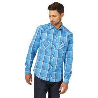 Wrangler Blue Retro Mens Long Sleeve Shirt MVR473B