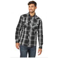 Wrangler Black/White Retro Mens Long Sleeve Shirt MVR474X