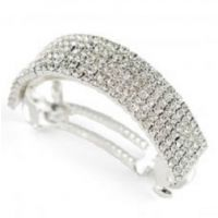 N-112X 6 Row Curved Rhinestone Barrette
