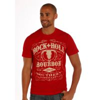 Rock and Roll T-Shirt with Rock and Roll Bourbon Graphic Red P9-1661