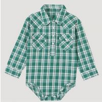 Wrangler Green/Ivory Baby Boy Long Sleeve Plaid Bodysuit with Western Snap Placket