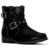 Rachel Princeton Black Buckle Accent Side Zipper Kids Ankle Boots PRINCETON-BLK
