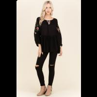 Polagram Black Floral Embroider Peplum Womens Top PST6080