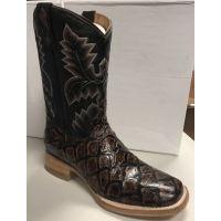 Cowtown Boot Chocolate Pirarucu Big Bass Fish Print Men's Boot Q158