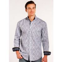 Roughstock from Panhandle Long Sleeve Button Down Printed Poplin Mens Shirt R0G3008