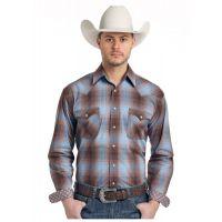 Panhandle Slim Woodsage Ombre Plaid Rough Stock Mens Long Sleeve Shirt R0S-3171