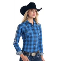 Panhandle Slim Blue Aztec Embroidered Long Sleeve Womens Western Shirt R4S2139