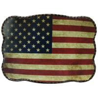 Wallet Buckle Rustic Flag Belt Buckle