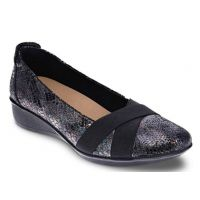 Revere Seoul Women's Black Metallic Python Wedge SEOUL