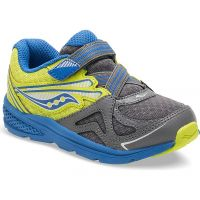 Saucony Baby Ride Grey Lime Blue Sneaker Velcro Closure Kids Shoes