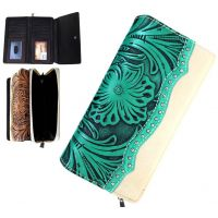 Trinity Ranch Tan/Turquoise Tooled Design Secretary Style Wallet TR46-W010