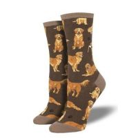 SockSmith Women's Brown Golden Retrievers Socks WNC1878