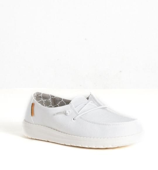 Hey Dude White Linen Wendy Youth Casual