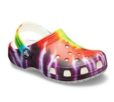 Crocs Multi Color Classic Tie Dye Graphic Kids Slide On Clog Shoes 205451-90H