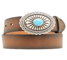 A1512002 Brown Plain Leather With Turquoise Accent Buckle Womens Belts