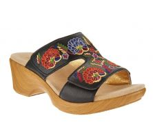 Alegria Black Multi LINN Embroidered Leather Slip On Wedge Womens Sandals LIN-601