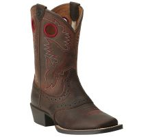 Ariat Roughstock Square Toe Brown/Red Leather Kids Western 10014101