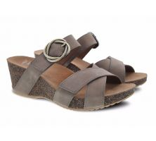 Dansko Susie Taupe Milled Nubuck Comfort Slide On Womens Wedge Sandals 3420-160600