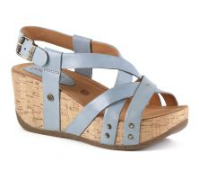 Bussola Natural Vitello Jeans Fabia Womens Adjustable Back Wedge Sandals FABIA