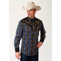 Karman Roper Royal/Navy/Tan Plaid Mens Long Sleeve Western Shirt 0100100240740BU