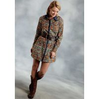 Karman Roper Five Star Folktale Brown Womens Shirt Dress 0305705906047BR