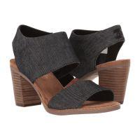 Toms Black Denim Majorca Cutout Womens Side Zip Sandals 10009809