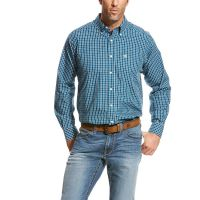 Ariat Fluid Teal Wrinkle Free Underwood Mens Long Sleeve Button Down Shirt 10024005