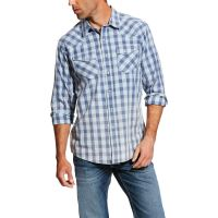 Ariat Foxglove Blue Ian Retro Long Sleeve Snap Western Shirt 10026100