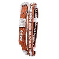 108 Rhinestone and Metal Studded Western Leather Belt by Kamberley