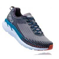 Hoka Frost Gray/Ebony Clifton 5 Cushioned Mens Athletic Running Shoes 1093755