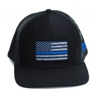 Richardson Custom Thin Blue Line Flag Sublimation Patch Black OSFM Ballcap 112-B-BLUELINE