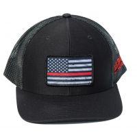 Richardson Custom Thin Red Line Flag Sublimation Patch Heather Black OSFM Ballcap 112-B-REDLINE