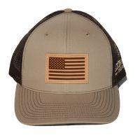 Richardson Khaki with Coffee American Flag Leather Patch OSFM Ballcap 112-KCF-USA