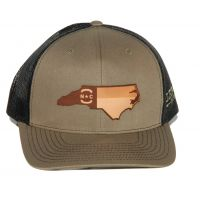 Richardson Lodge Mesh Back Trucker Ball Cap with Leather NC State Outiline 112-LOB-NCHP