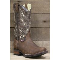 Rockin Leather Square Toe Chocolate Crater Mens Western Boots 1126