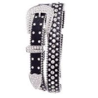 112 Black Rhinestone Studded Leather Womens Belt by Kamberley