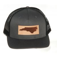 Richardson Charcoal/Black Mesh Back Trucker Ball Cap with Leather Patch 112FP-CHB-NC